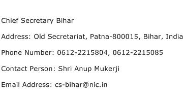 Chief Secretary Bihar Address Contact Number