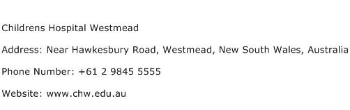 Childrens Hospital Westmead Address Contact Number
