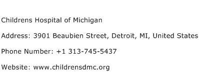 Childrens Hospital of Michigan Address Contact Number
