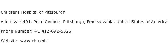 Childrens Hospital of Pittsburgh Address Contact Number