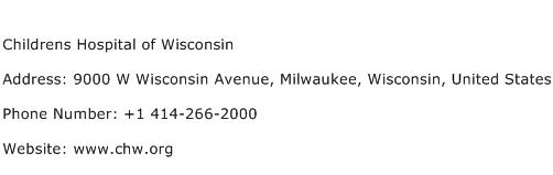 Childrens Hospital of Wisconsin Address Contact Number