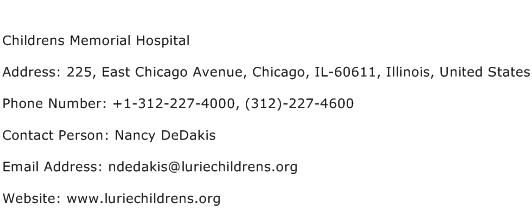 Childrens Memorial Hospital Address Contact Number