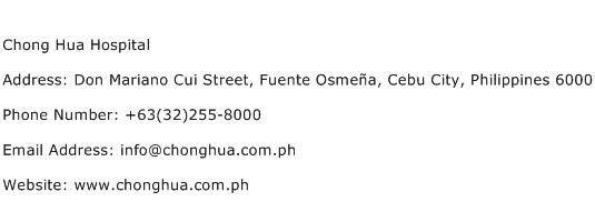 Chong Hua Hospital Address Contact Number