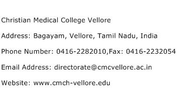 Christian Medical College Vellore Address Contact Number