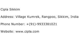 Cipla Sikkim Address Contact Number