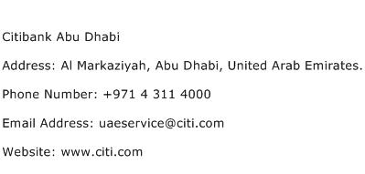 Citibank Abu Dhabi Address Contact Number