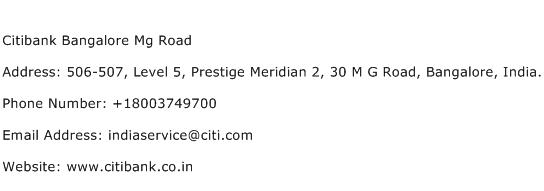 Citibank Bangalore Mg Road Address Contact Number