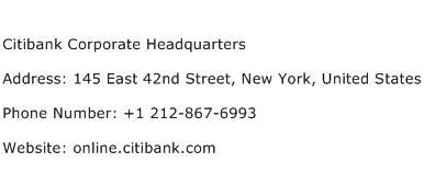 Citibank Corporate Headquarters Address Contact Number