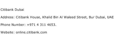 Citibank Dubai Address Contact Number