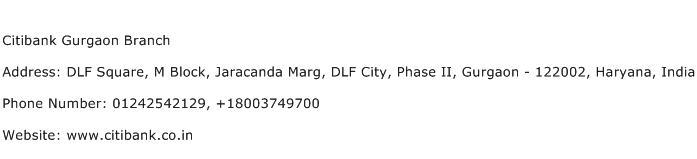 Citibank Gurgaon Branch Address Contact Number