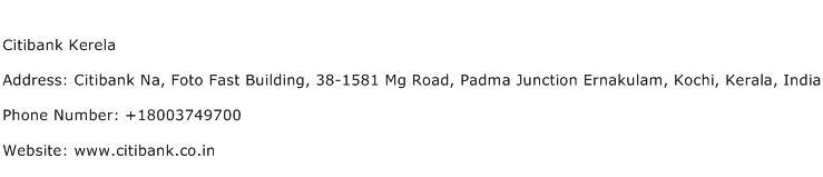Citibank Kerela Address Contact Number