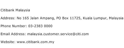 Citibank Malaysia Address Contact Number