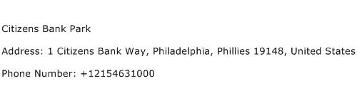 Citizens Bank Park Address Contact Number