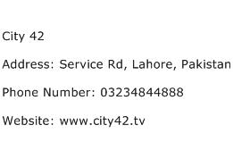 City 42 Address Contact Number