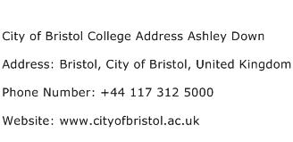 City of Bristol College Address Ashley Down Address Contact Number