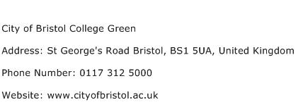City of Bristol College Green Address Contact Number