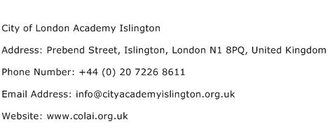 City of London Academy Islington Address Contact Number