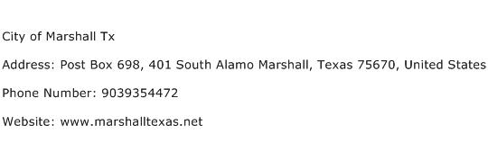 City of Marshall Tx Address Contact Number