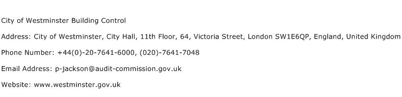 City of Westminster Building Control Address Contact Number