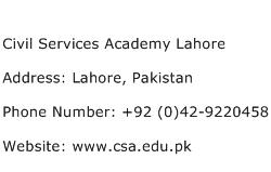 Civil Services Academy Lahore Address Contact Number