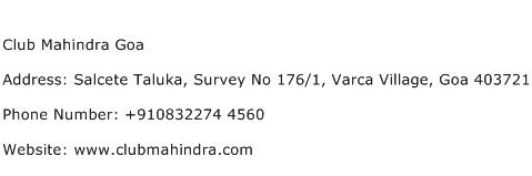 Club Mahindra Goa Address Contact Number