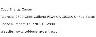 Cobb Energy Center Address Contact Number