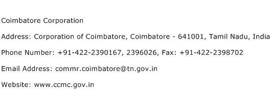 Coimbatore Corporation Address Contact Number