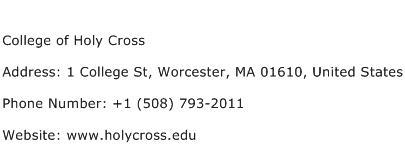 College of Holy Cross Address Contact Number