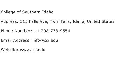 College of Southern Idaho Address Contact Number