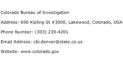 Colorado Bureau of Investigation Address Contact Number