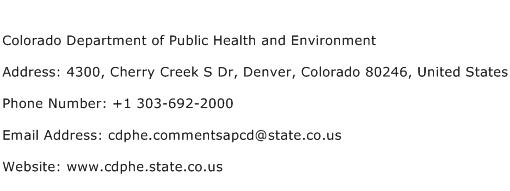 Colorado Department of Public Health and Environment Address Contact Number