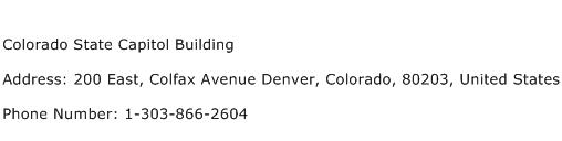 Colorado State Capitol Building Address Contact Number