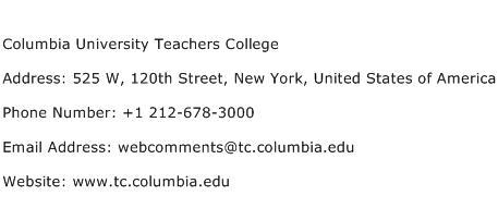Columbia University Teachers College Address Contact Number