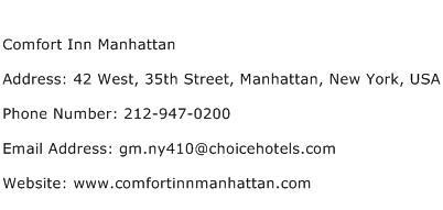 Comfort Inn Manhattan Address Contact Number