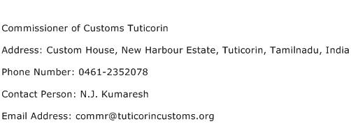 Commissioner of Customs Tuticorin Address Contact Number