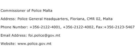 Commissioner of Police Malta Address Contact Number