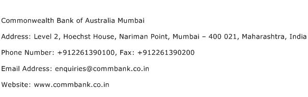 Commonwealth Bank of Australia Mumbai Address Contact Number