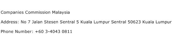 Companies Commission Malaysia Address Contact Number