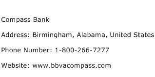 Compass Bank Address Contact Number