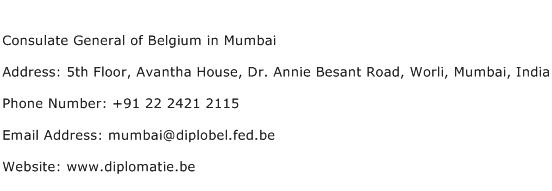 Consulate General of Belgium in Mumbai Address Contact Number