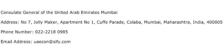 Consulate General of the United Arab Emirates Mumbai Address Contact Number