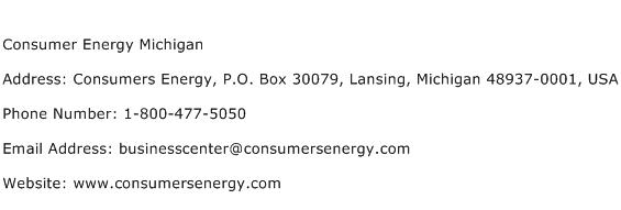 Consumer Energy Michigan Address Contact Number
