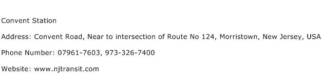 Convent Station Address Contact Number