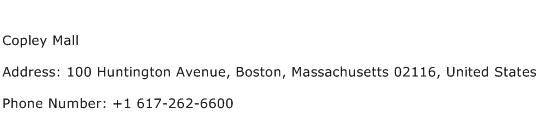 Copley Mall Address Contact Number