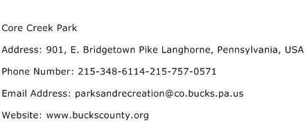 Core Creek Park Address Contact Number