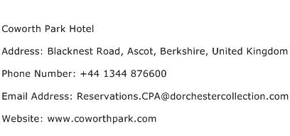 Coworth Park Hotel Address Contact Number