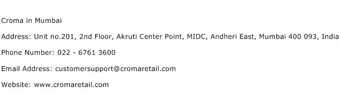 Croma in Mumbai Address Contact Number