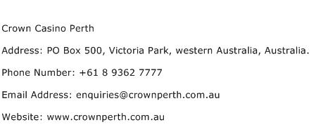 Crown Casino Perth Address