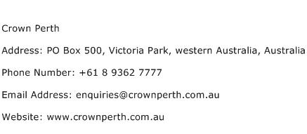 Crown Perth Phone Number
