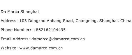 Da Marco Shanghai Address Contact Number